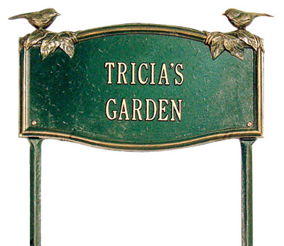 Whitehall Vine & Chickadee Lawn Marker Garden Plaque Product Image
