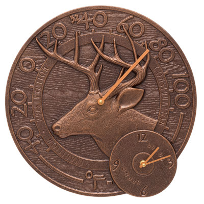 Whitehall Whitetail Deer Clock And Thermometer Product Image