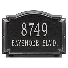 Whitehall Williamsburg Address Plaque Black Silver