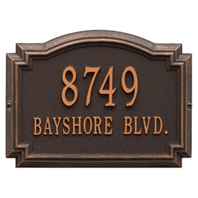 Williamsburg Address Plaque Oil Rubbed Bronze