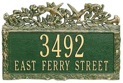 Whitehall Woodland Hummingbird Address Plaque