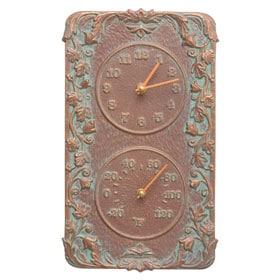 Whitehall Acanthus Clock Thermometer Copper Verdigris