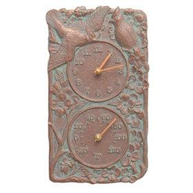 Whitehall Cardinal Clock Thermometer Copper Verdigris