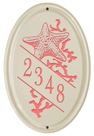 Whitehall Starfish Vertical Oval Plaque Coral