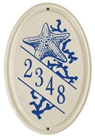 Whitehall Starfish Oval Plaque Dark Blue