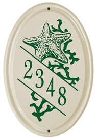 Whitehall Starfish Vertical Oval Plaque Green