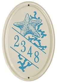 Whitehall Starfish Oval Plaque Sea Blue