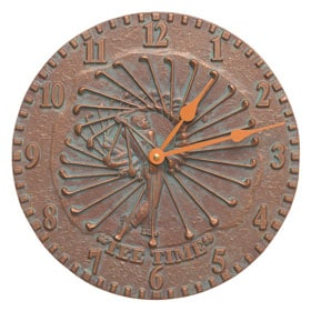 Whitehall Golfer Clock Copper Verdigris