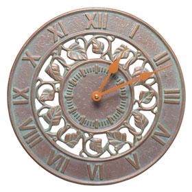 Whitehall Ivy Clock Copper Verdigris