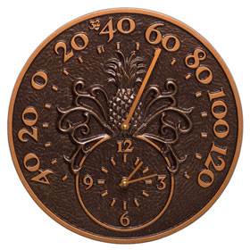 Whitehall Pineapple Clock Thermometer Antique Copper