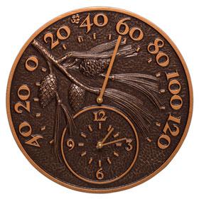 Whitehall Pinecone Clock Thermometer Antique Copper
