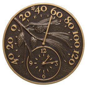 Whitehall Pinecone Clock Thermometer French Bronze