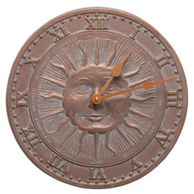 Whitehall Sunface Clock Copper Verdigris