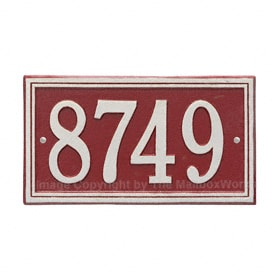 Whitehall Double Line Plaque Red Silver