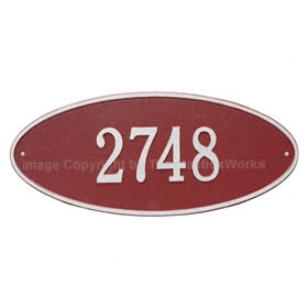 Whitehall Madison Oval Plaque Red Silver