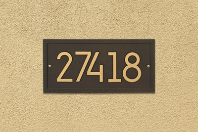 Whitehall Modern Rectangle Address Plaque Installed