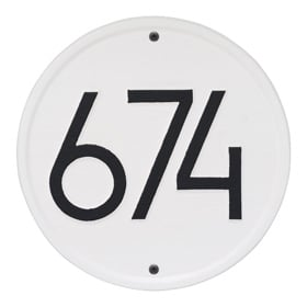 Whitehall Modern Round Plaque White Black