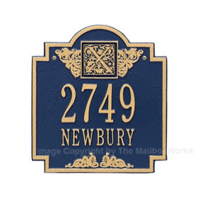Whitehall Monogram Address Plaque Blue Gold