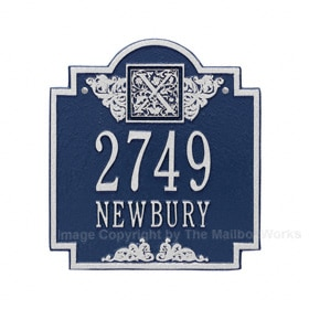 Whitehall Monogram Address Plaque Blue Silver