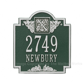 Whitehall Monogram Address Plaque Green Silver