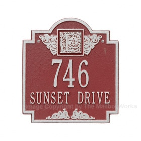 Whitehall Monogram Address Plaque Red Silver