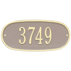Whitehall Oval Address Plaque Taupe Ivory