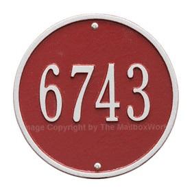 Whitehall Round Address Plaque Red Silver