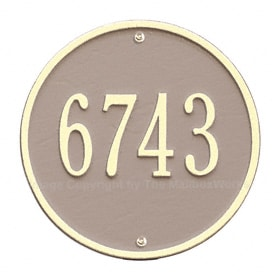 Whitehall Round Address Plaque Taupe Ivory