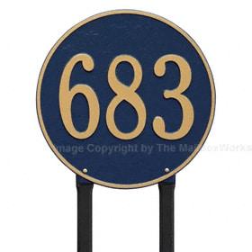 Whitehall Round Lawn Marker Blue Gold