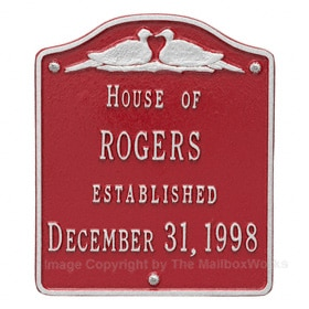 Whitehall Wedding Plaque Red Silver
