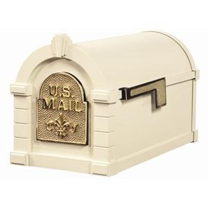Fleur Keystone Mailbox Almond Polished Brass