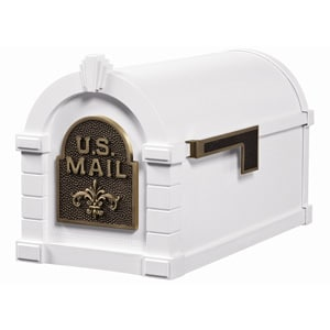 Fleur Keystone Mailbox White Antique Bronze