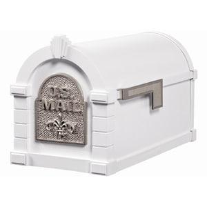 Fleur Keystone Mailbox White Satin Nickel