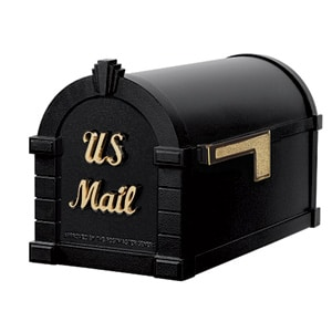 Signature Keystone Mailbox Black Polished Brass