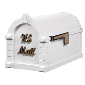 Signature Keystone Mailbox White Antique Bronze
