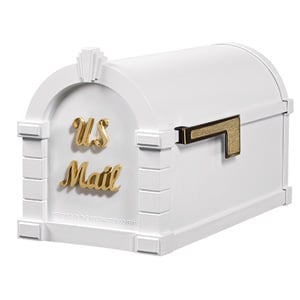 Signature Keystone Mailbox White Polished Brass