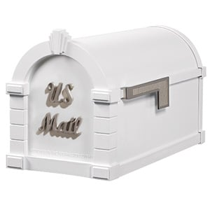 Signature Keystone Mailbox White Satin Nickel