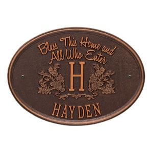 Whitehall Bless Home Monogram Antique Copper