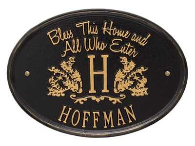Whitehall Bless This Home Monogram Oval Plaque Product Image