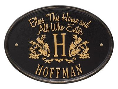 Whitehall Bless Home Monogram Oval Plaque