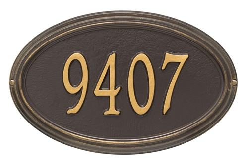 Whitehall Concord Oval Aluminum Address Plaque Product Image
