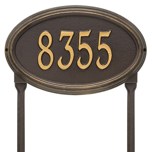 Whitehall Concord Oval Lawn Marker Address Plaque Product Image