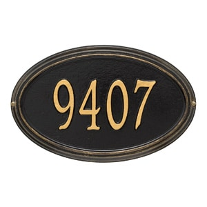 Whitehall Concord Oval Plaque Black Gold
