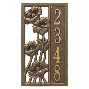 Whitehall Flowering Poppies Plaque Bronze Gold