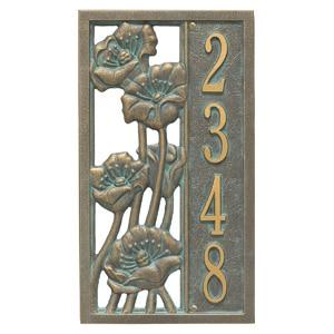 Whitehall Flowering Poppies Plaque Bronze Verdigris