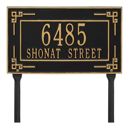 Whitehall Key Corner Rectangle Lawn Marker Address Plaque Product Image