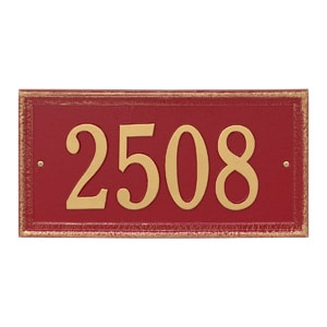 Whitehall Mason's Rectangle Plaque Red Gold
