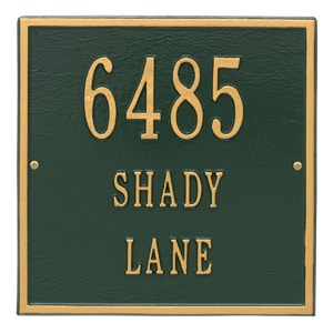 Whitehall Square Address Plaque Green Gold