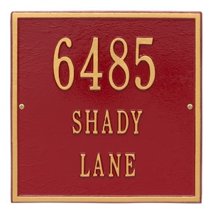 Whitehall Square Address Plaque Red Gold