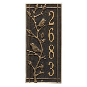 Whitehall Woodridge Vertical Plaque Black Gold